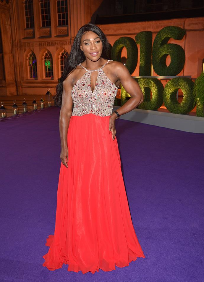 Winner Serena Williams also wowed in a dazzling evening gown that featured a vibrant red skirt.