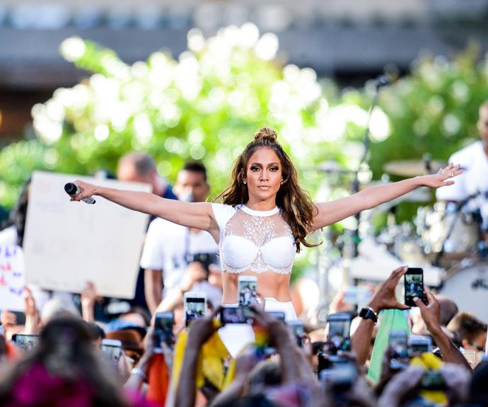 Jennifer Lopez performs with Lin-Manuel Miranda on the *Today Show*.