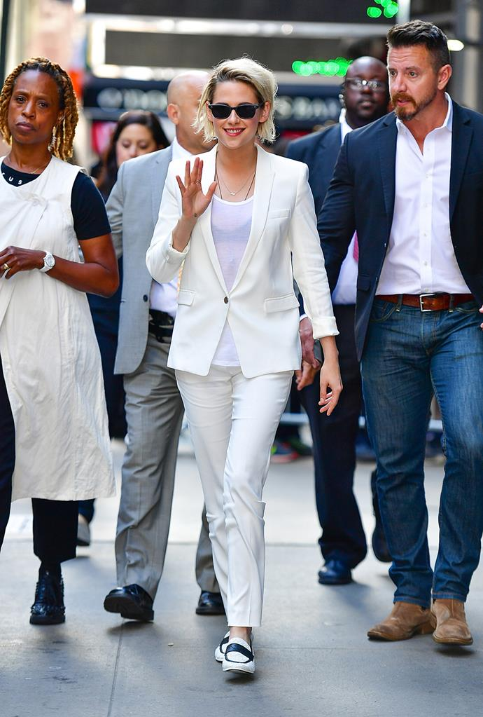Actress Kristen Stewart dressed up in an all-white ensemble to film an appearance on *Good Morning America* in New York.