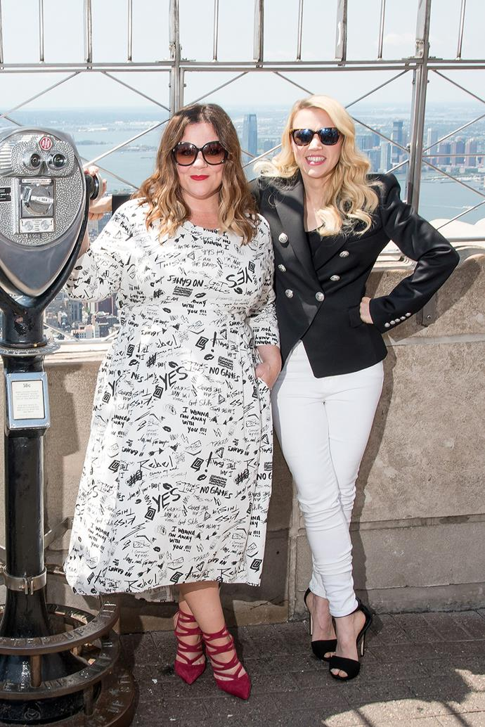 *Ghostbusters* co-stars Melissa McCarthy and Kate McKinnon stop by the Empire State Building.