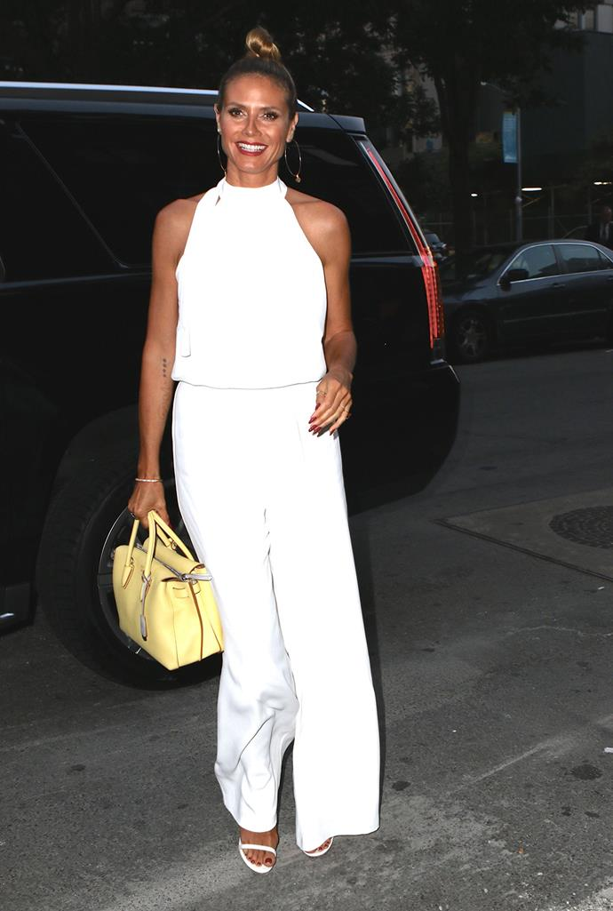 Heidi Klum is a vision in white in New York.