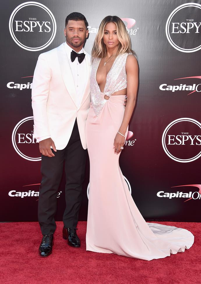 Newlyweds Ciara and Russell Wilson stepped out for their first red carpet appearance as husband and wife at the ESPYS.