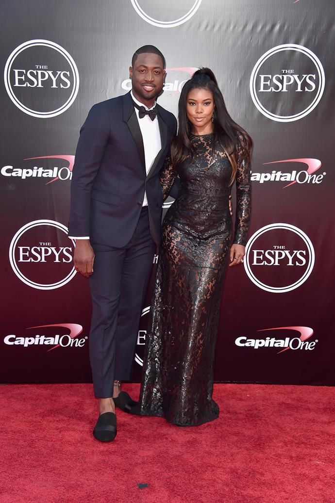 Gabrielle Union and her husband Dwyane Wade pose together at the ESPYS.
