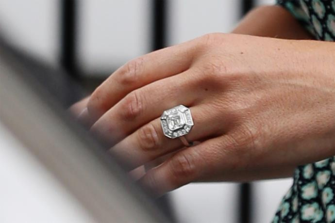 Pippa's Asscher-cut diamond ring is thought to be worth £200,000. Photo: Getty