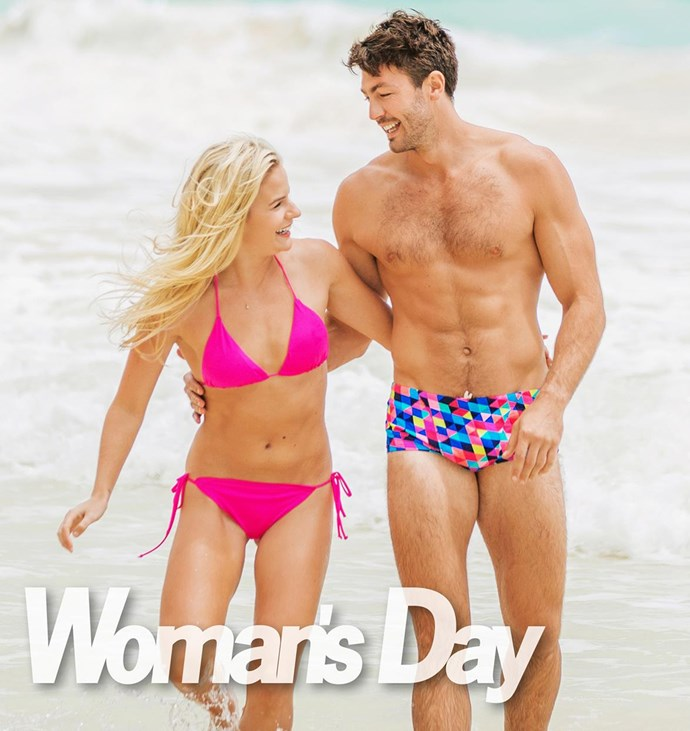 Art's eye-catching funky trunks almost steal the show from his fabulously fit girlfriend!