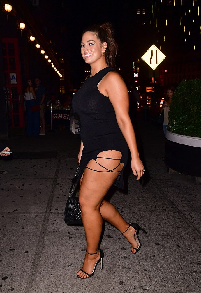 Model Ashley Graham flashes a smile as she steps out for the night in New York.