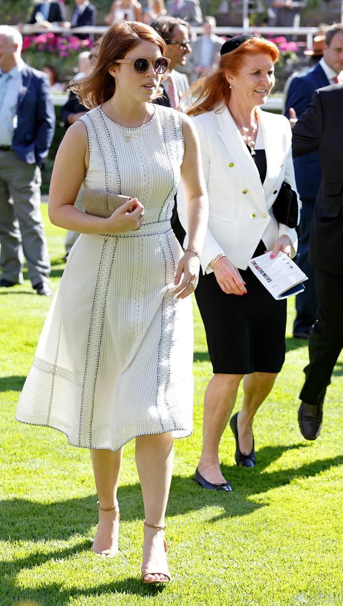 Princess Eugenie and her mother Sarah Ferguson attend an event at the Ascot race course in England.