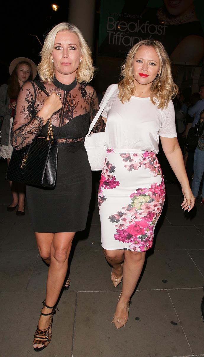Denise Van Outen and Kimberley Walsh step out for the opening of 'Breakfast at Tiffany's' in London.