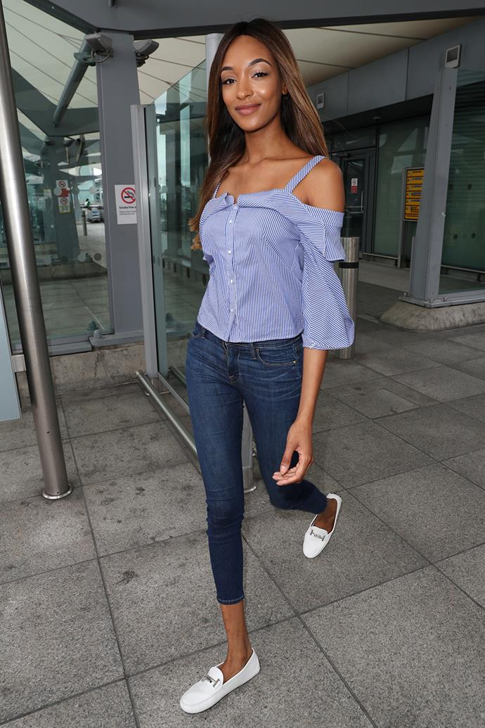 Model Jourdan Dunn bares her shoulders in a trendy top as she steps out in London.