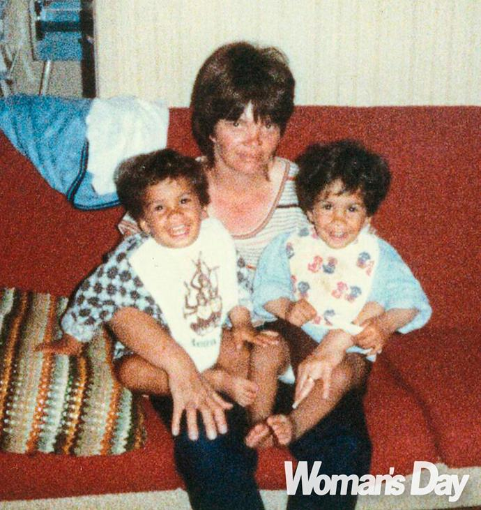 Mum Bev with baby Robert and his identical twin brother William.
