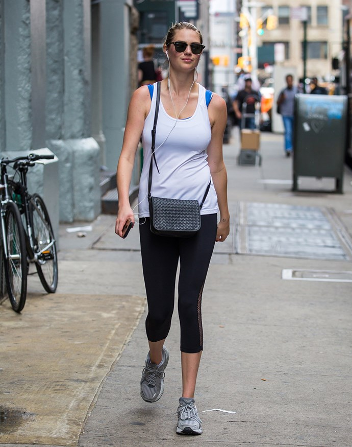 Model Kate Upton steps out in exercise gear.