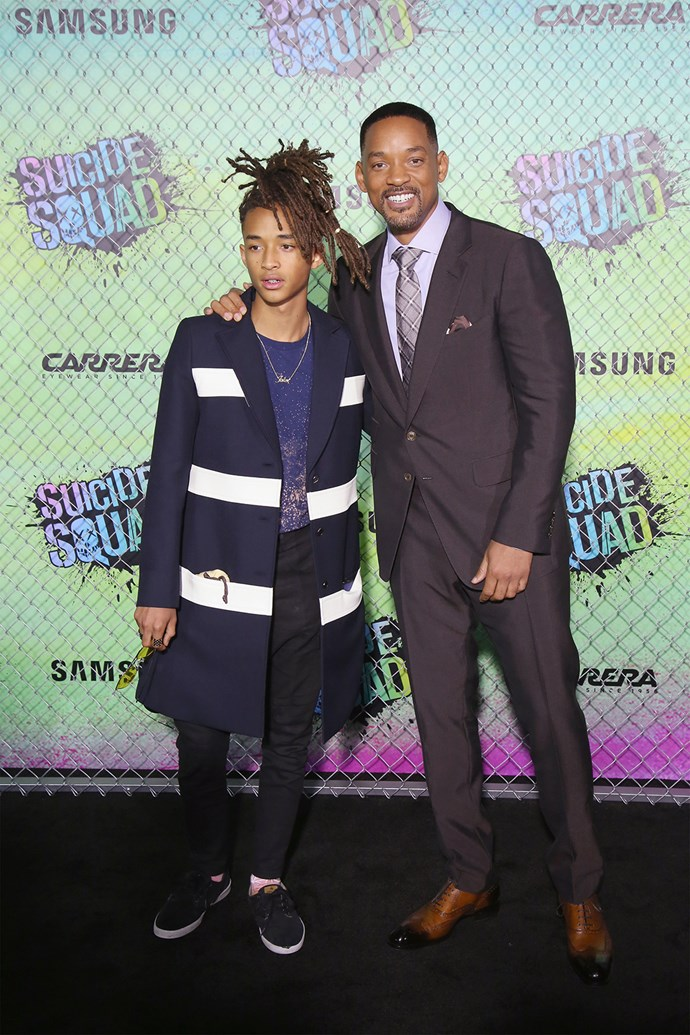 Will Smith and son Jaden Smith cosy up for a photo at the *Suicide Squad* premiere.