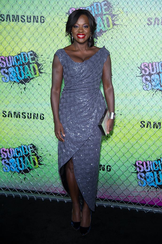Viola Davis gets all glammed up for the premiere of *Suicide Squad* in New York.