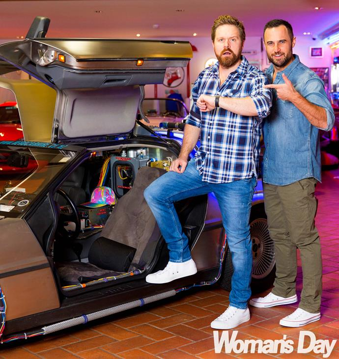Actor besties Jordan Mauger and Will Hall strike a pose in our *Back to the Future*-themed shoot.