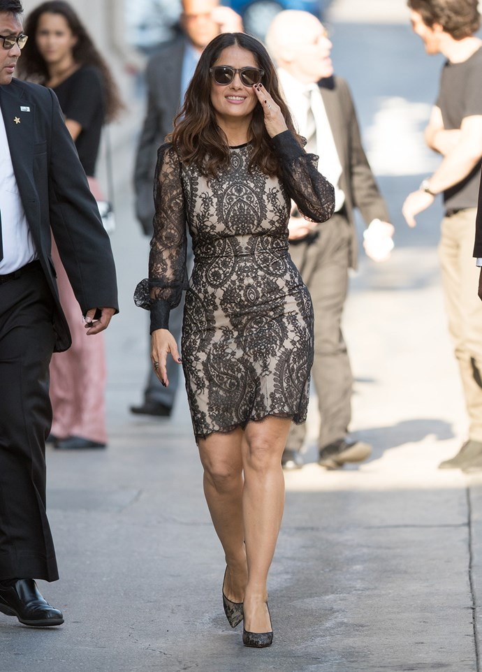 Salma Hayek takes a stroll around Los Angeles.