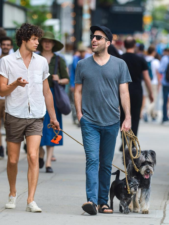 *Star Trek* actor Zachary Quinto walks his dogs in New York.