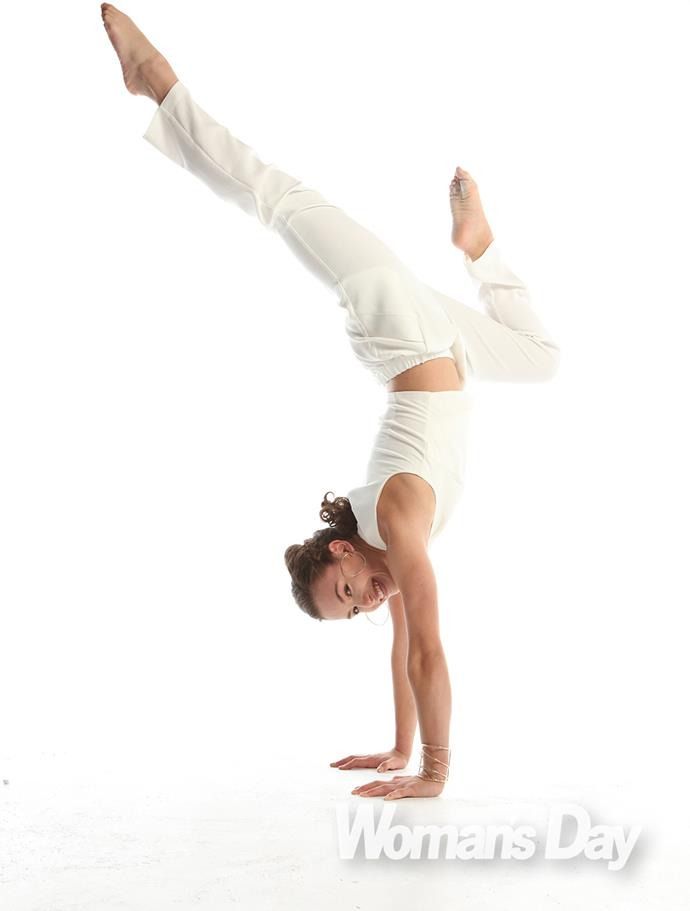 """""""I do rhythmic gymnastics and my specialty is the vault, but I do the full programme - bars, beam and floor,"""" she says."""