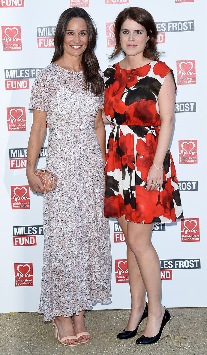 Princess Eugenie - pictured here with Pippa Middleton - often attends charity events alongside her royal family. Photo: Getty