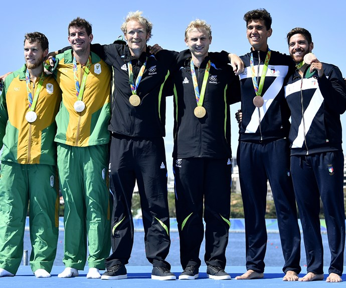 The duo pose with South Africa's Shaun Keeling and Lawrence Brittain and Italy's Marco di Costanzo and Giovanni Abagnale.