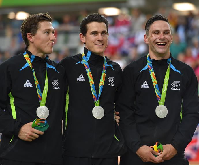 Cycling trio Ethan Mitchell, Sam Webster and Eddie Dawkins won the silver medal in the men's team sprint finals, missing out on gold by just 0.102 seconds.