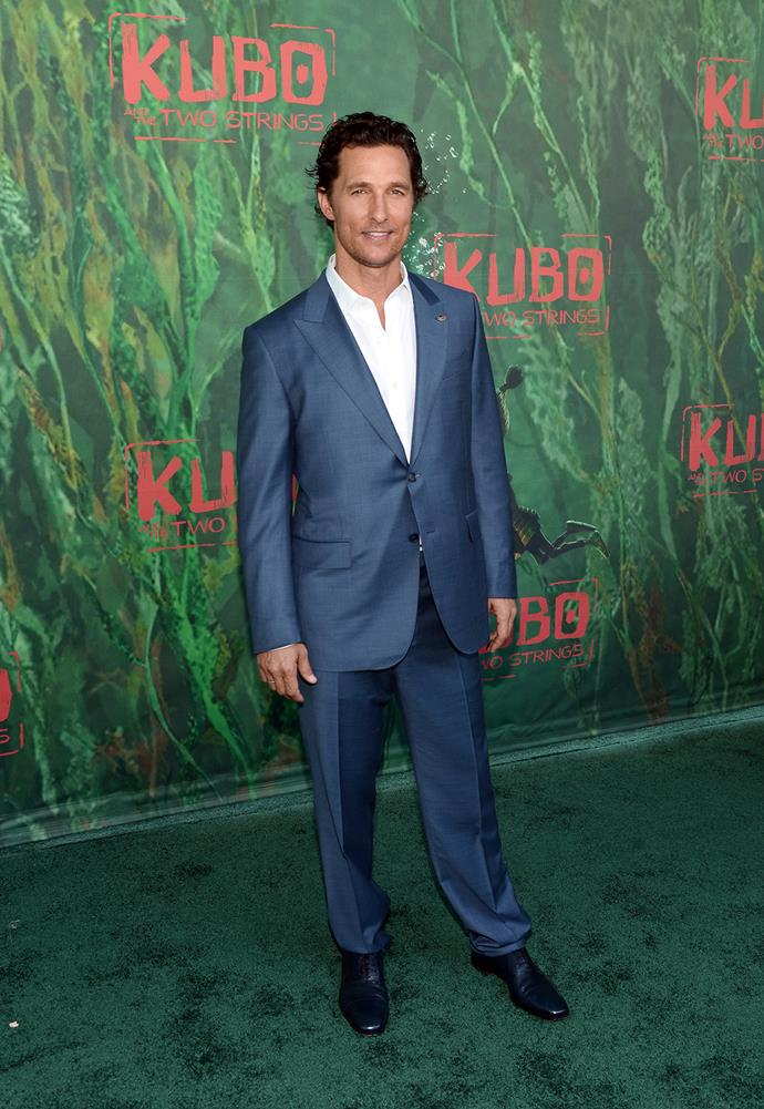 Matthew McConaughey walks the red carpet at the premiere of *Kubo and the Two Strings*.