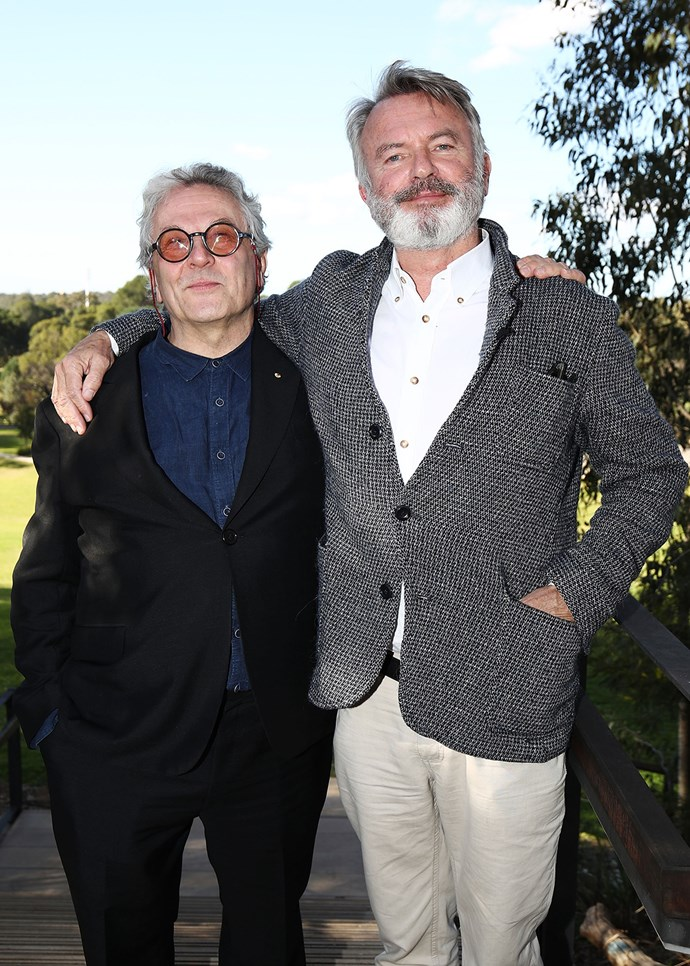 Kiwi actor Sam Neill poses with Australian film director George Miller at the press conference for short film festival Tropfest in Sydney.