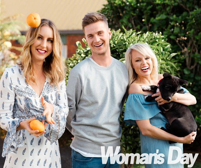 Flatmates Gab Davenport, Steve Broad and Carolyn Taylor strike a pose for our cameras at our exclusive *Woman's Day* photo shoot.