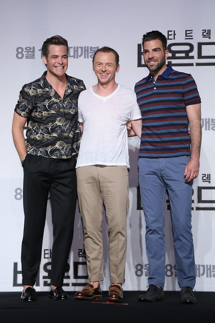 Chris Pine, Simon Pegg and Zachary Quinto buddy up at the South Korean premiere of *Star Trek Beyond*.