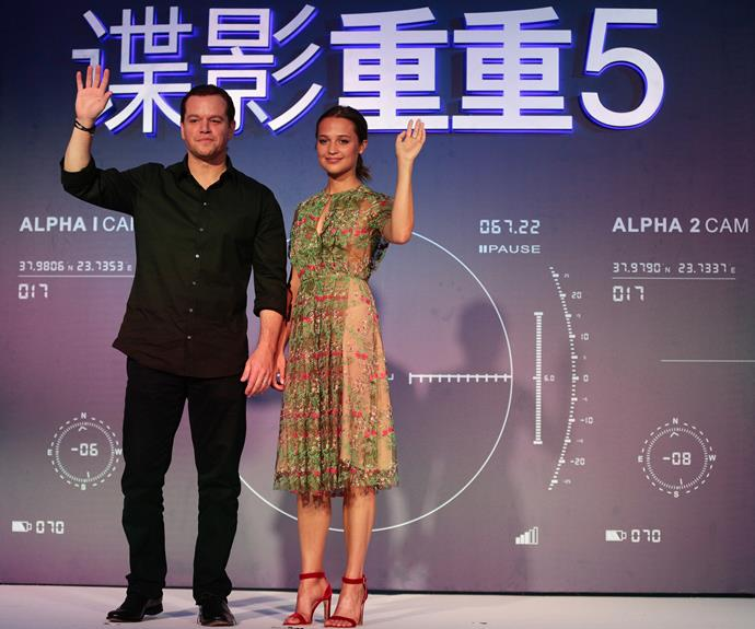 Matt Damon and Alicia Vikander promote their new film *Jason Bourne* in Beijing.