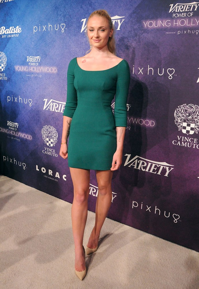 Sophie Turner wows in green at *Variety's* Power of Young Hollywood event.