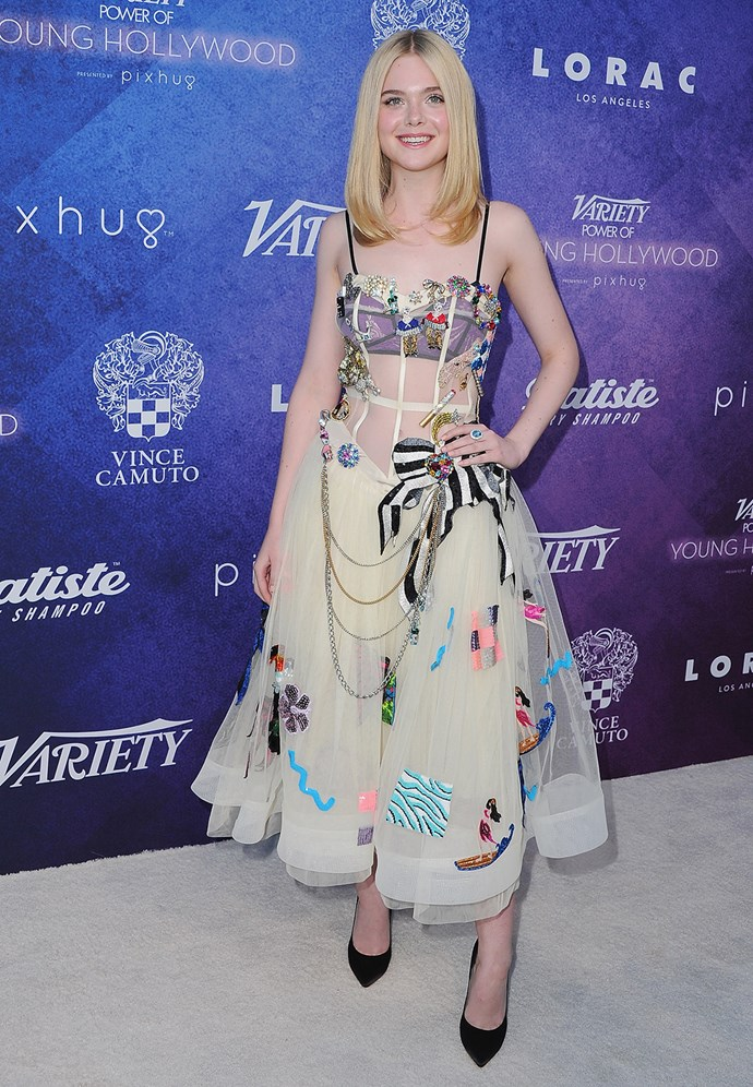 Elle Fanning walks the white carpet at *Variety's* Power of Young Hollywood event.