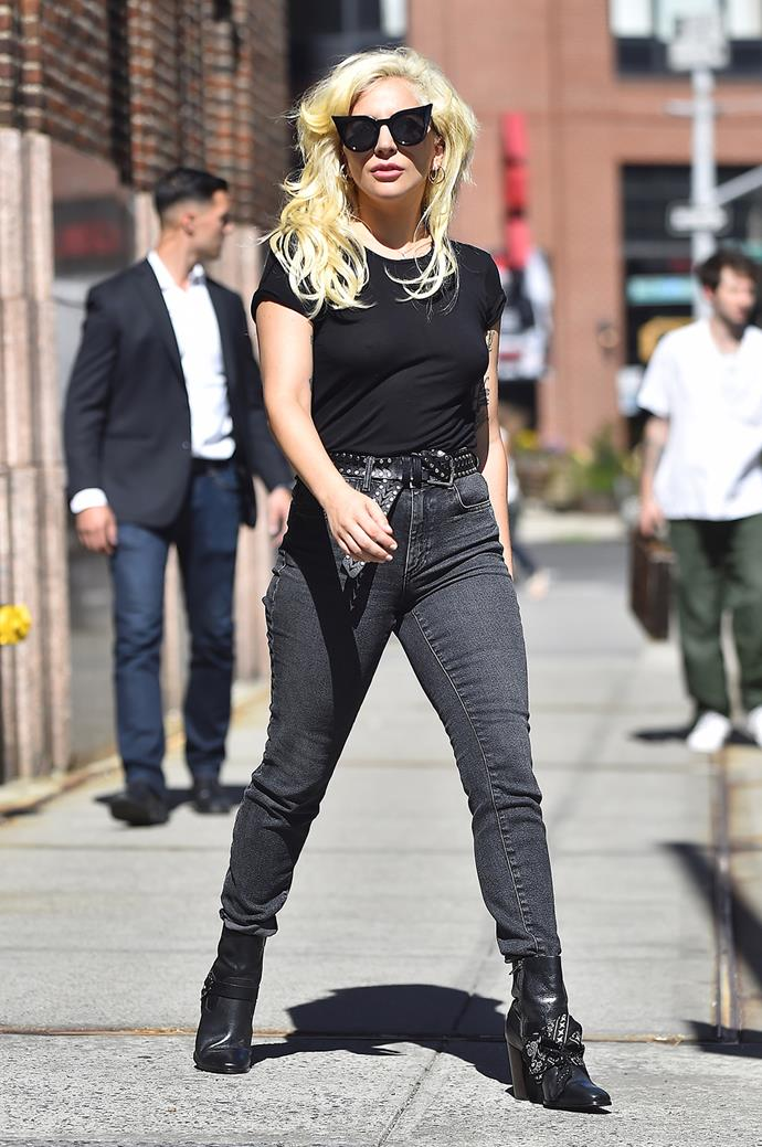 Lady Gaga rocks black cat-eye shades as she takes a stroll in New York.