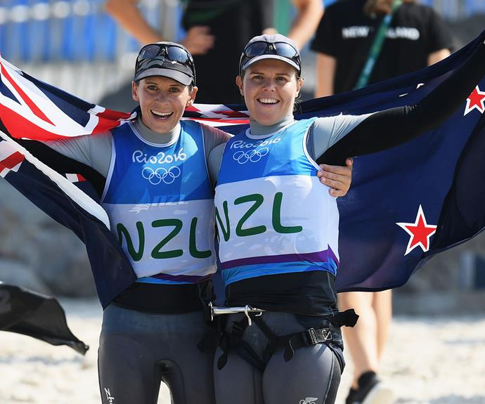Jo Aleh and Polly Powrie added to New Zealand's medal haul as well, winning a silver in the 470s.