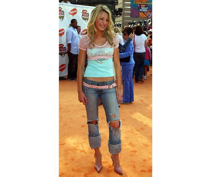 A fresh-faced Blake struts her stuff on the orange carpet at the Kids Choice Awards in 2005, Check out the oh-so-2005 belt and jeans combo!