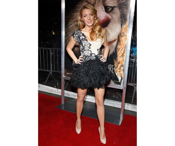 Blake definitely made the most of all the events by wearing stunning dresses (like this amazing Marchesa dress at the 2009 *Where the Wild Things Are* premiere) and embodying the phrase 'hair goals'.