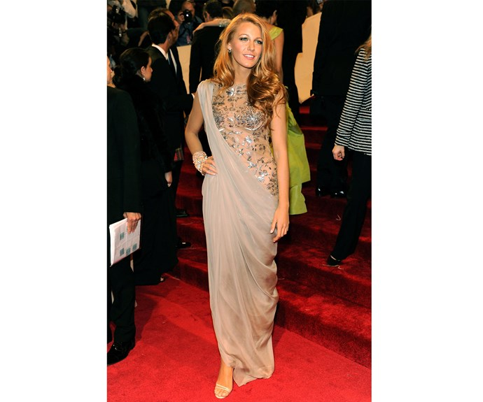 At the 2011 Met Gala, Blake turned heads in this dreamy draped gown.