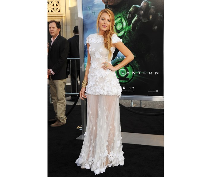 At a premiere for *The Green Lantern*, the movie where she met her future husband Ryan Reynolds, Blake shone in an angelic ivory gown from Chanel.