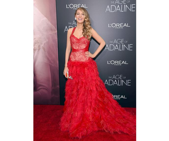 In 2015, Blake continued to show how to make an entrance with this stunning Monique Lhuillier gown at *The Age of Adaline* premiere.