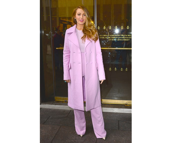 Blake's day-to-day wardrobe seems to be just as on point as her red-carpet fashion. In April last year, she dazzled in this all-pink ensemble.