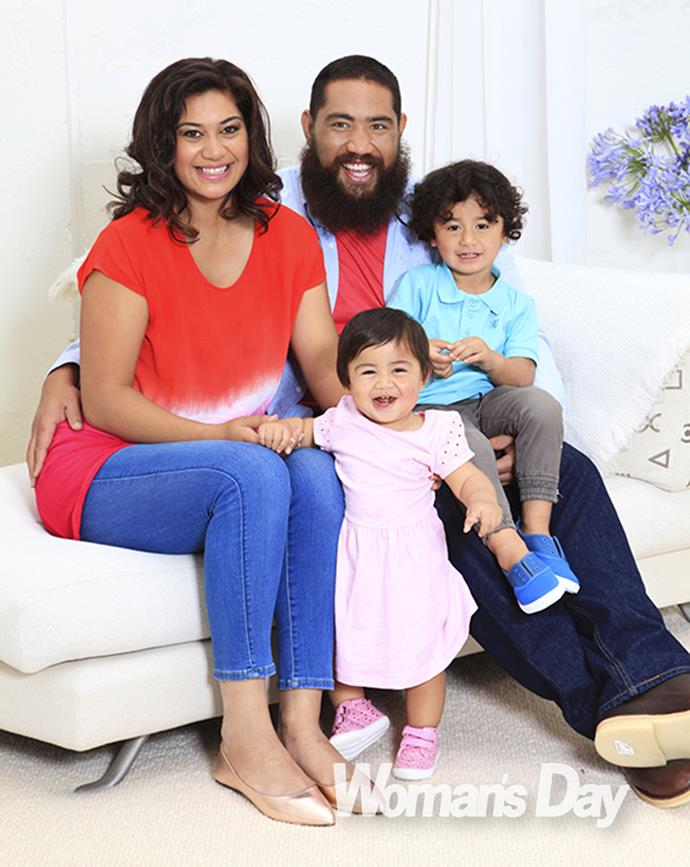 All Black star Charlie Faumuina with his wife Rachelle and their children Riley and Leilani-Grace.
