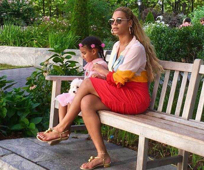 Beyoncé and Blue Ivy having a peaceful moment.
