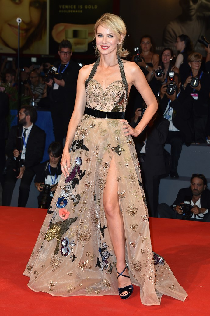 Australian actress Naomi Watts walked the red carpet in a stunning Elie Saab gown for the premiere of her new movie *The Bleeder*.