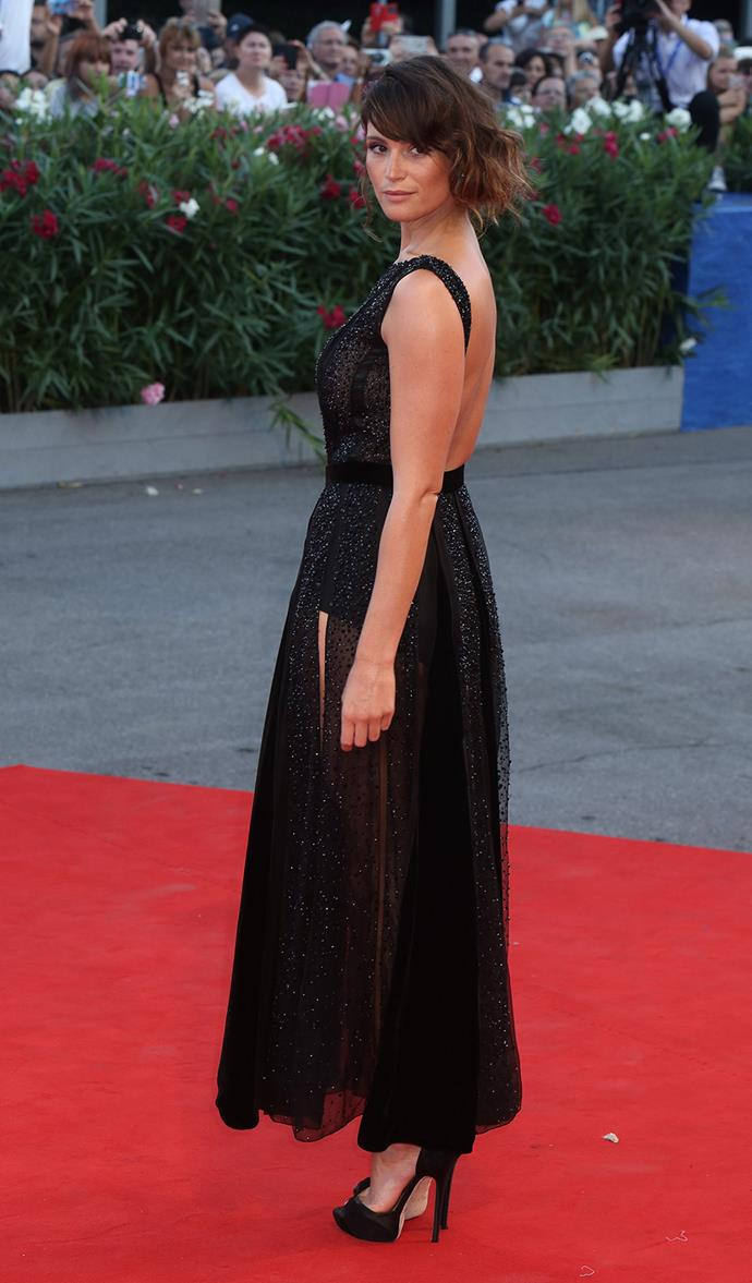Actress and Film Festival Jury member Gemma Arterton strikes a pose.