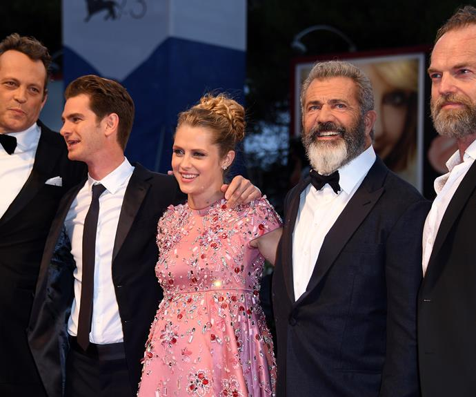 Teresa poses with her co-stars Vince Vaughn, Andrew Garfield, director Mel Gibson and Hugo Weaving.