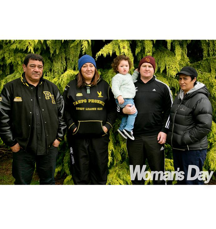 Tawhiri's parents John (left) and Daphne are fundraising with Stacey's dad Josh and mum Tanz (far right) to secure Hine-Titama's future.