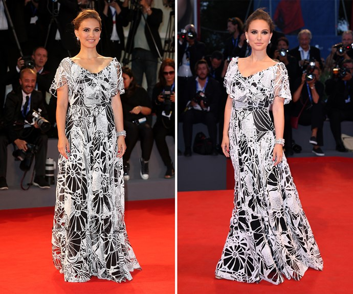 At the premiere of her film *Jackie*, Natalie Portman turned heads in a monochromatic Valentino dress.