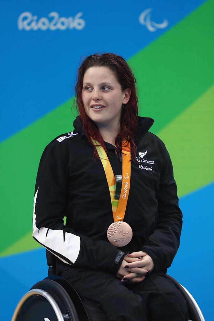 Rebecca Dubber won a bronze medal in the women's 100m backstroke S7 final.
