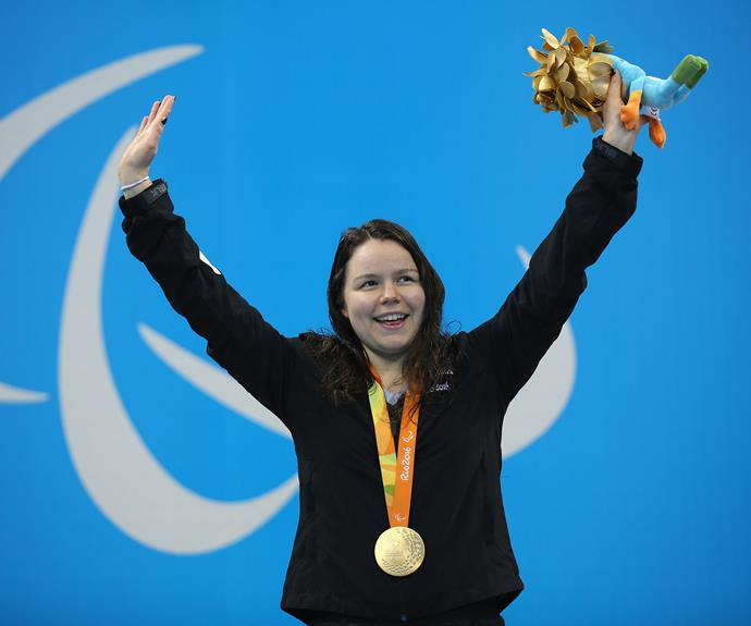 Mary Fisher won gold in the women's 100m backstroke S11.