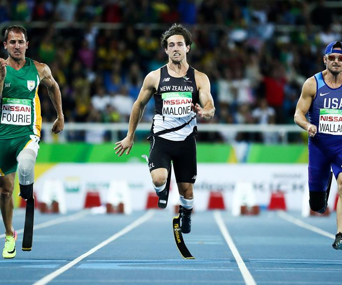 New Zealand's own 'Blade Runner', Liam Malone, surged ahead after a rocky start to claim silver in the men's 100m T44 final.