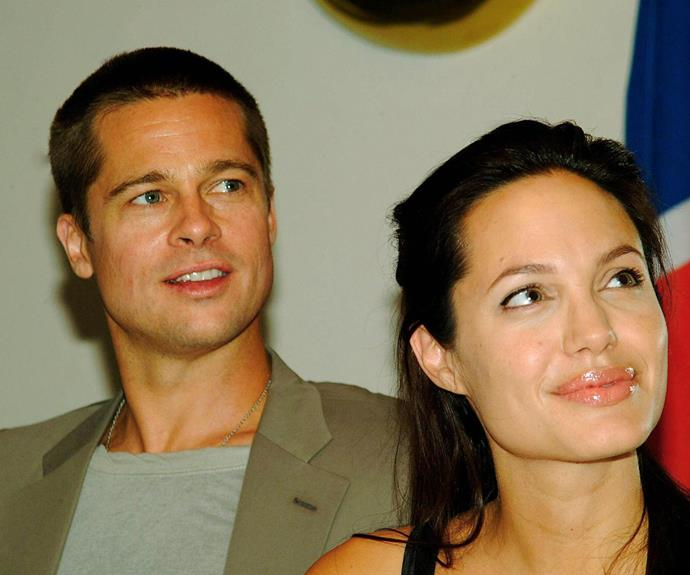 The proud parents announce the birth of their daughter Shiloh Nouvel Jolie-Pitt in 2006, during a press conference at the Swakopmund hotel in Namibia.